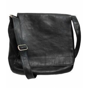 RUDSAK Leather Messenger Bag Black Crossbody LARGE